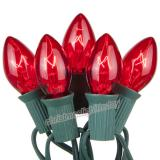 Premium  25 C7 Transparent Red Christmas Lights,Green Wire,Item Code:25C7TRDG