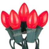 Premium 25 C7 Opaque Red Christmas Lights,Green Wire,Item Code:25C7ORDG