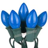 Premium 25 C7 Opaque Blue Christmas Lights,Green Wire,Item Code:25C7OBLG