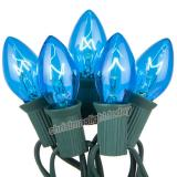 Premium  25 C7 Transparent Blue Christmas Lights,Green Wire,Item Code:25C7TBLG