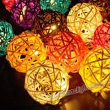 20 LED Multicolor Globe 1.6 inch Natural Rattan Balls Warm White  String Light For Outdoor,Item Code:20MIRBMU