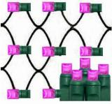 Pink led net lights 100L 5mm Wide Angle Les,4´×6´,Green Wire,Item Code:5M100PKG