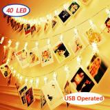 40LED Photo Clips Warm White Fairy String Lights for Bedroom USB Operated Perfect for Hanging Pictures, Cards, Memos,Item Code:40CLWWUS