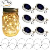 6 Pack 20 Led Warm White String Fairy Star Firefly Jar Lids Lights,6 Hangers included(Jars Not Included), Best for Mason Jar Decor,Patio Garden Decor Solar Laterns Table  Item Code: 20JLWWSO